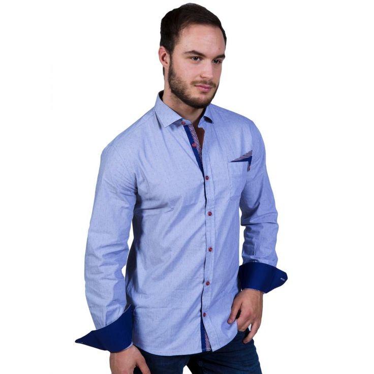 STEFAN Ανδρικό γαλάζιο slim fit fashion πουκάμισο