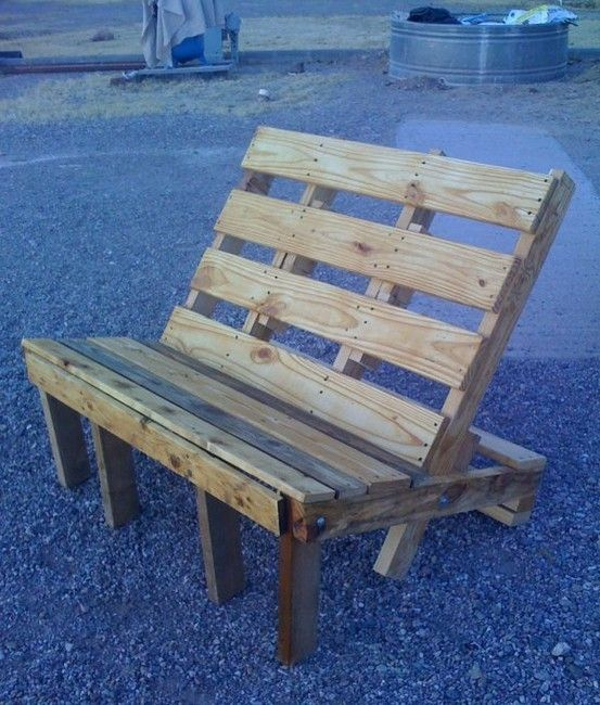 Pallets work great as outdoor furniture because they're rustic. They also lend themselves well to any kind of paint color you want to throw by annabelle