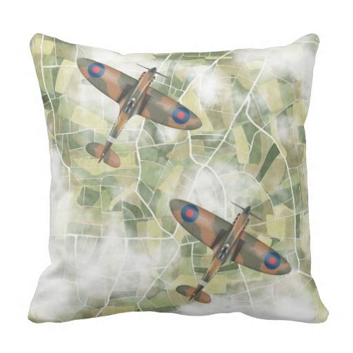 Spitfires flying in pair square pillow
