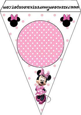 Imprimibles y fondos gratis de Minnie Mouse con lunares rosa y blanco.