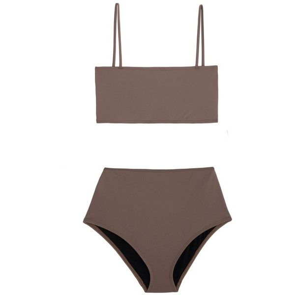 Nu Swim Grey Straight Top Bikini ($149) ❤ liked on Polyvore featuring swimwear, bikinis, swim, bandeau swimwear, high-waisted bikinis, bandeau bikini, high rise bikini swimwear and bikini two piece