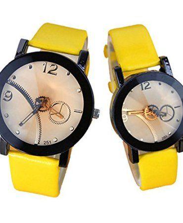 Driwensltd-2015-Hot-Lover-Watches-Casual-Fashion-Gear-Watch-for-Business-School-Man-Women-2-Pcs-Yellow-0