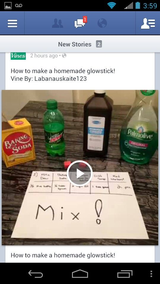 How to make a homemade glow stick- baking soda, mountain dew, peroxide, starbursts, and dish soap