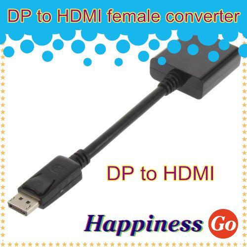 Free shipping Black DisplayPort Male DP to HDMI Female Adapter cable For HDTV 1080P for PC/TV/Laptop