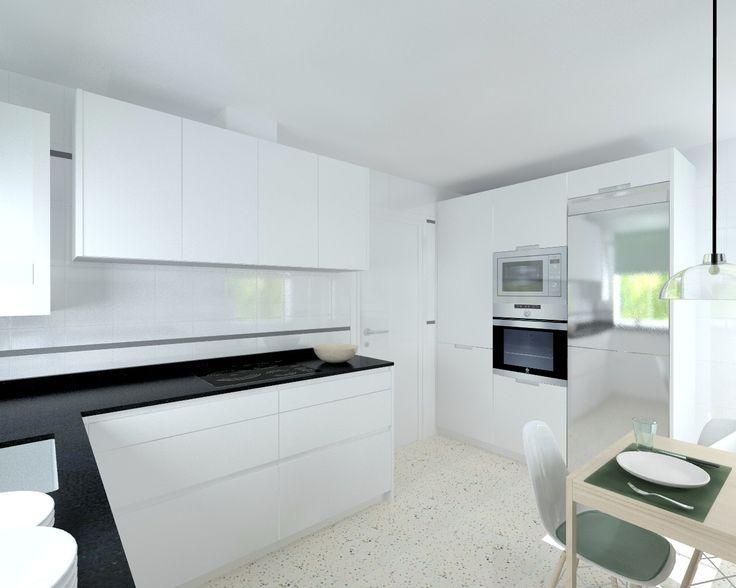 17 mejores ideas sobre cocina de granito negro en - Cocina blanca mate ...