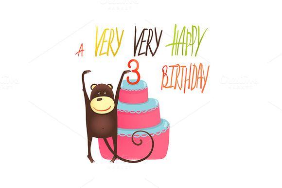 Monkey Cake Three Years Old Birthday by Popmarleo Shop on Creative Market