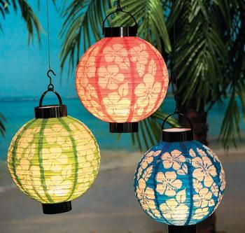 Luau party supplies, party supplies,hawaiian party supplies, canada day party, party decorations, String Party Lights, Pink Ribbon Products - Light Up Hibiscus Lantern Set of 3