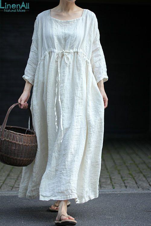 LinenAll женщин летнее платье, слоновая кость белый квадрат воротник насосная 100% белье жаккард свободном piecelong платье yijiu купить на AliExpress