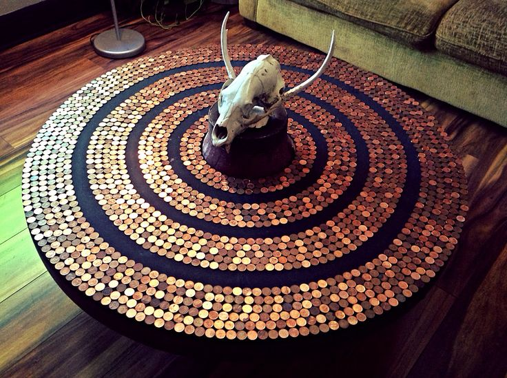 Round Penny Table Created From A Wagon Wheel Penny Table Penny Table Tops Diy Furniture