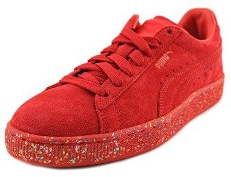 Puma Suede Classic Multi Splatter Jr Youth Round Toe Suede Red Sneakers.