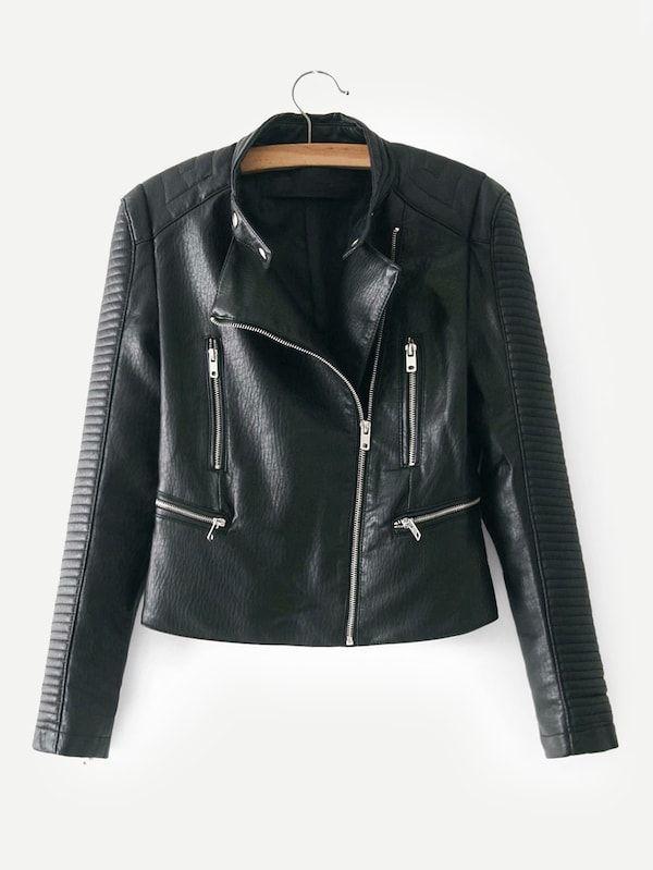Faux Leather Biker Jacket Shein Sheinside Womens Black Leather Jacket Leather Jackets Women Faux Leather Biker Jacket