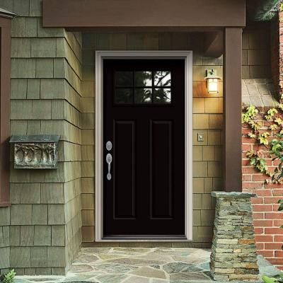 Jeld Wen Craftsman 6 Lite Painted Steel Entry Door With