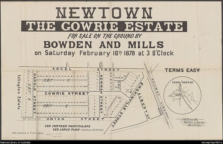Bowden & Mills. Newtown, the Gowrie Estate : for sale on the ground ... on Saturday February 16th 1878 at 3 o'clock. 1878. National Library of Australia: http://nla.gov.au/nla.map-lfsp1941