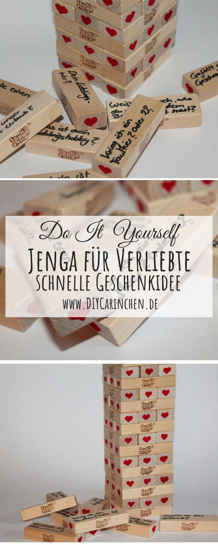 DIY Jenga-Spiel für Verliebte einfach selber machen – perfekte Geschenkidee …   – DIYCarinchen Geschenke / Geschenkideen