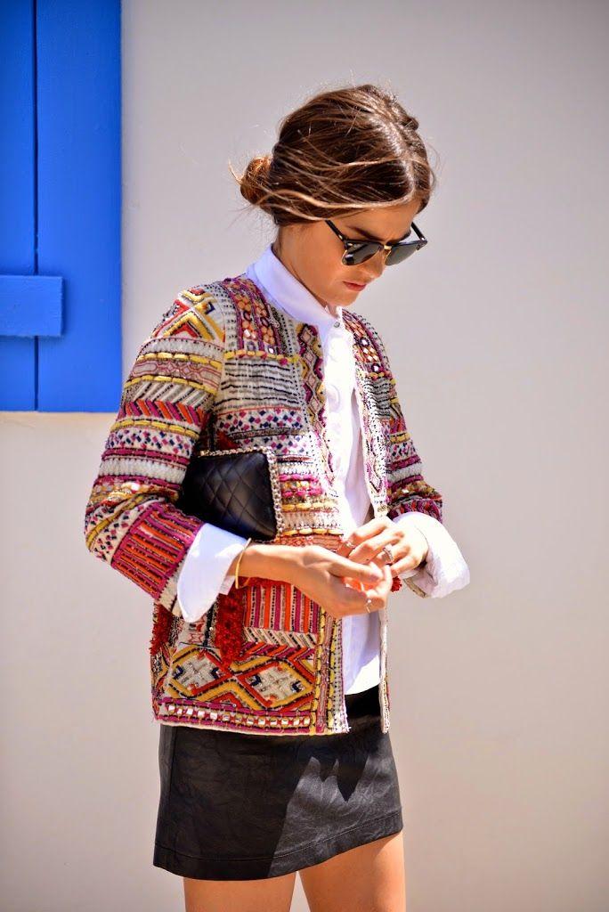Zara embroidered jacket - blankitinerary blogger