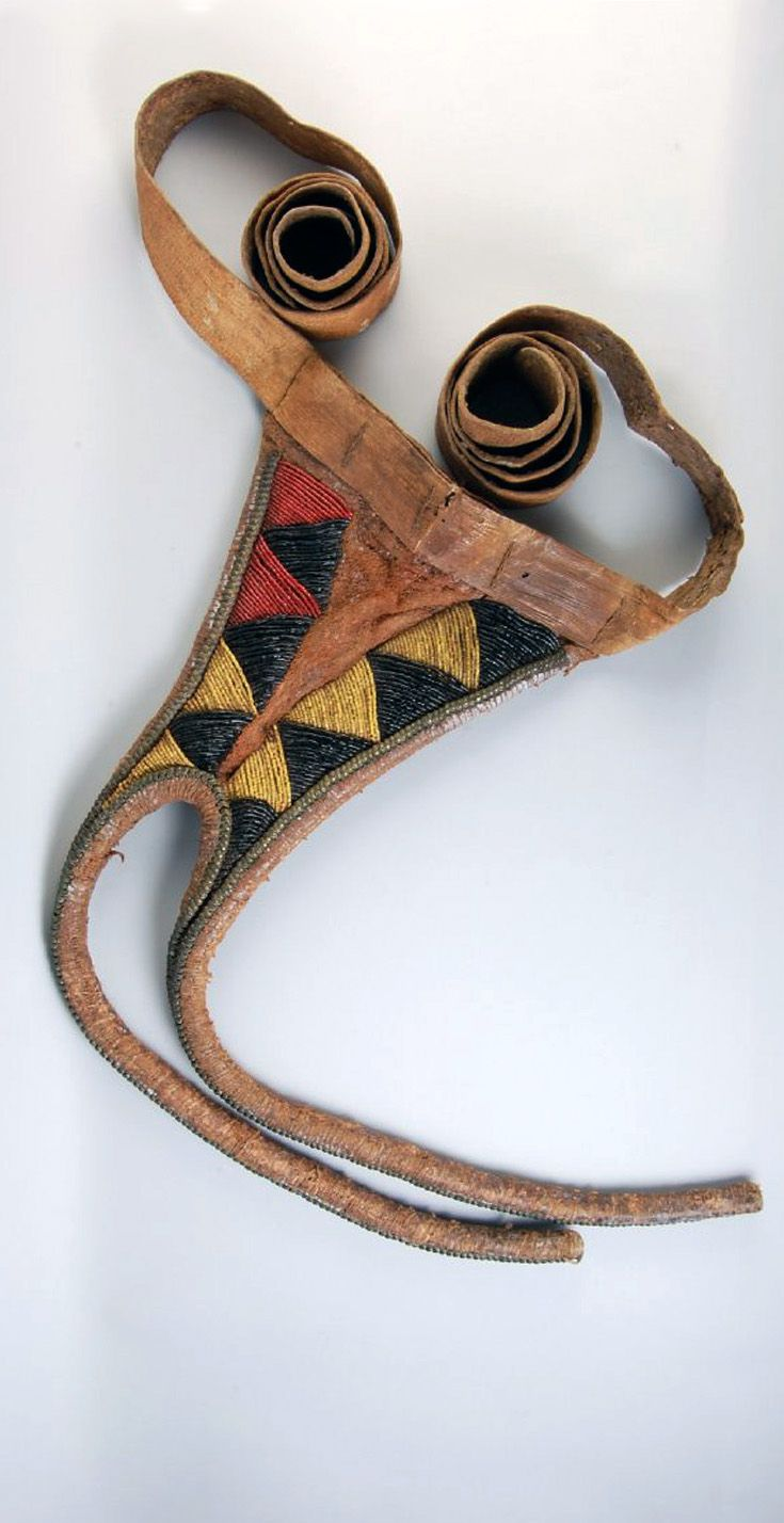 Africa | Waist ornament from Sekukuni's Kraal, Transvaal, South Africa; possibly Pedi people | Leather, glass and brass beads | 19th century
