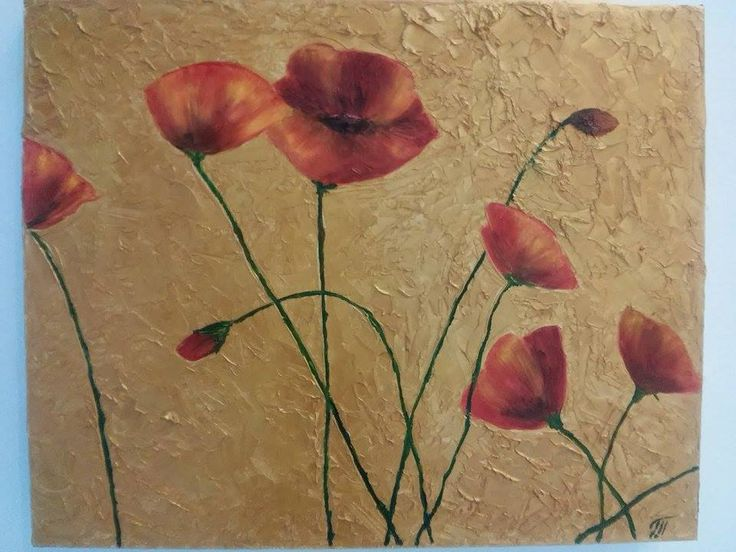 View and buy Poppies on the gold background 40x50 sm oil on canvas by ClaireArtCafe on Etsy