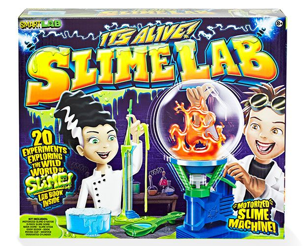 The Best Toys of 2014.  SmartLab Toys It's Alive! Slime Lab (ages 8+)      Young SlimeLab Einsteins were mesmerized by the Slime-O-Nator — a motorized device that makes messy goo (cornstarch + water + food coloring) grow, dance and mutate. Parents will be pleased that this lab kit teaches experimenters about chemical reactions, polymers and wave science.$25, smartlabtoys.com