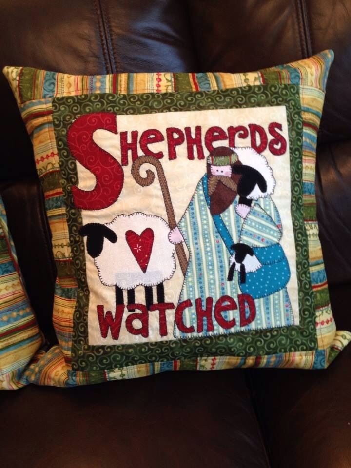 Nancy Halvorsen christmas tidings cushion design - shepherds watched