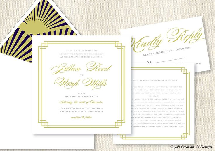 Art Deco inspired wedding invitations #makeitamomenttoremember