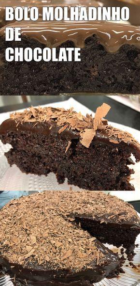 Bolo molhadinho de chocolate Uma delícia clássica, rápida e fácil de fazer em casa. Delícia irresistível para agradar a todos!