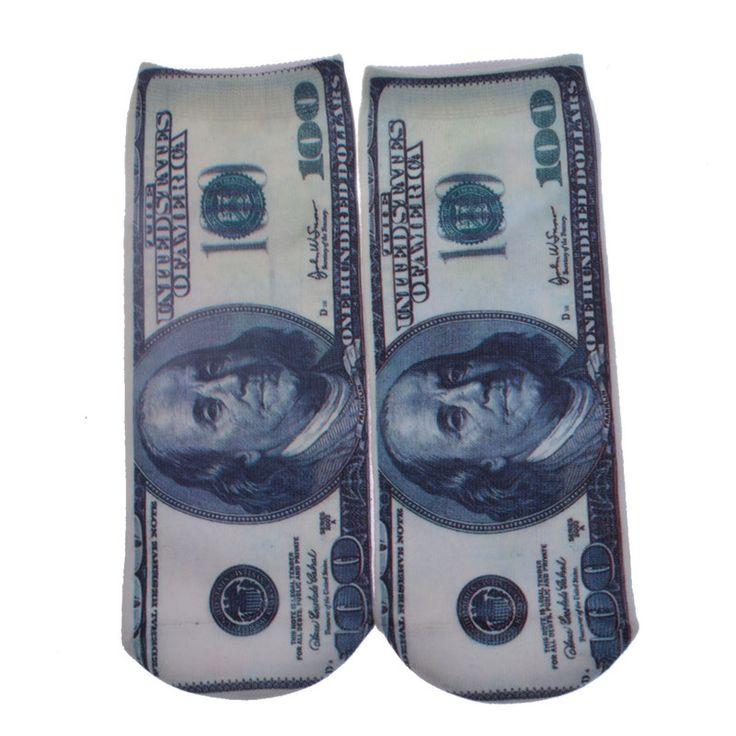جديد وصول 3d طباعة الدولار المرأة الجوارب عارضة الجوارب الكرتون الجوارب للجنسين القطن أدنى قطعة الكاحل