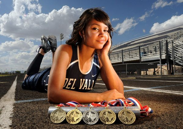 senior pictures ideas for girls cross country   Monica Lopez poses behind her UIL gold and silver medals at the Del ...