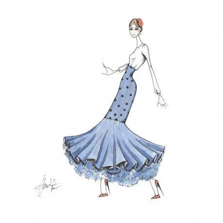 Falda de flamenca de 1 volante #moda #flamenca #patrones #volantes #lunares #sketch #dibujo #boceto #pintura #modelo
