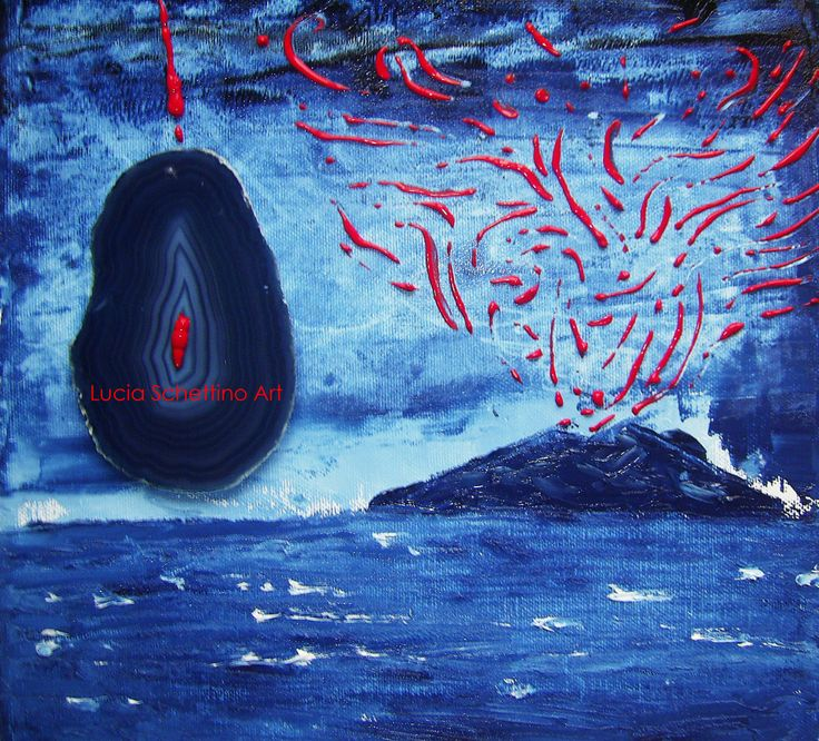 """""""Vesuvius is woman"""" oil on canvas whit application of agata private collection"""