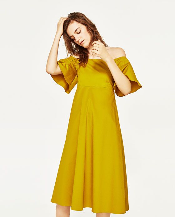 Image 2 of OFF-THE-SHOULDER MIDI DRESS from Zara