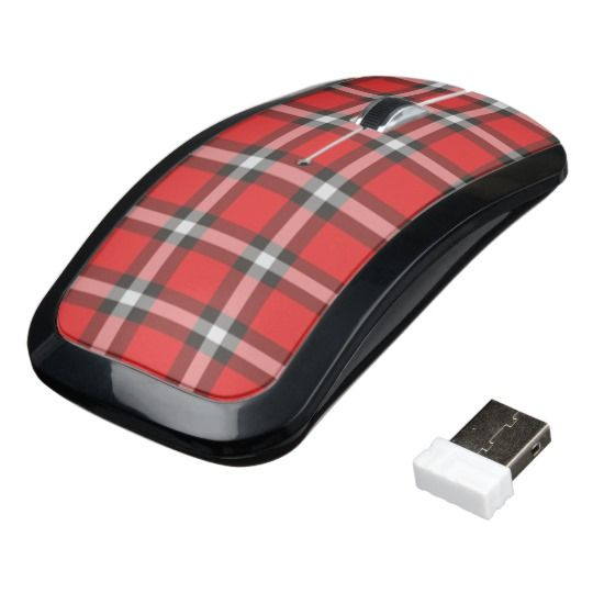 Red and black plaid wireless computer mouse #ad