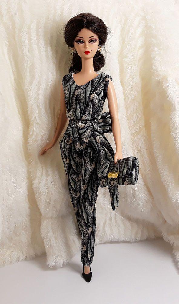4debb7df6436 OOAK Handmade Dark Beauty Silk Outfit Dress & Bag Jewelry For Barbie  Silkstone #Sitar_Large_Super_Rich