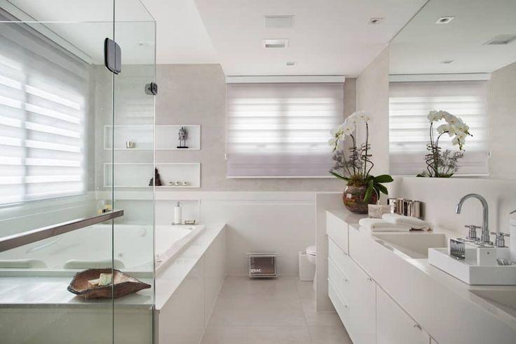 Banheiro da Suíte Master: Banheiros modernos por ANGELA MEZA ARQUITETURA & INTERIORES
