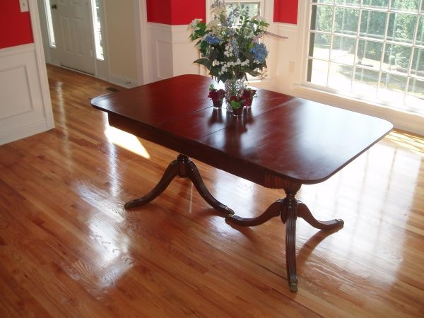 Rounded Rectangular Top Antique Duncan Phyfe Double Pedastal Mahogany Table With BRASS FEET