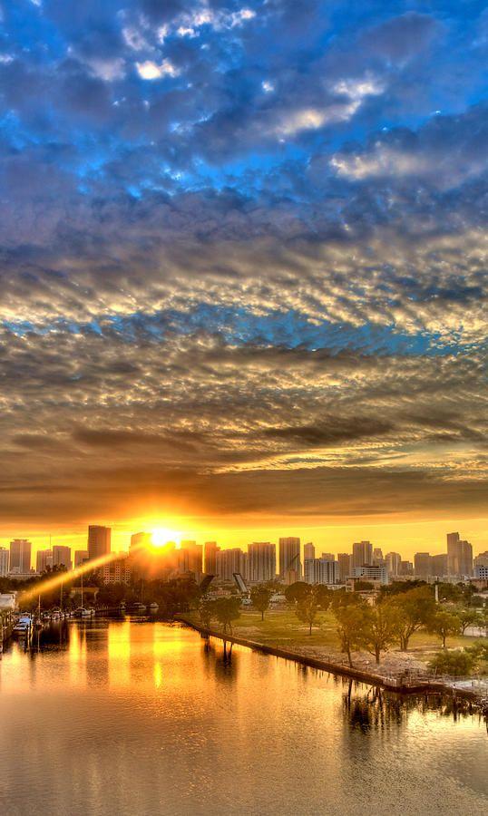 Miami River Sunrise Photograph by William Wetmore - Miami River Sunrise Fine Art Prints and Posters for Sale
