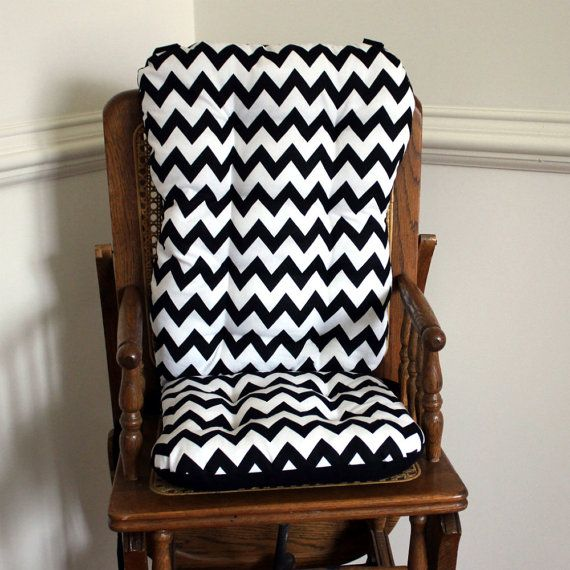 Black Chevron High Chair Cushions, High Chair Pads, High Chair Cover, Highchair  Pads, Wooden Highchair Pads