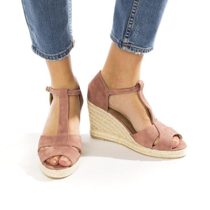 Roze sandaal met sleehak | Veritas