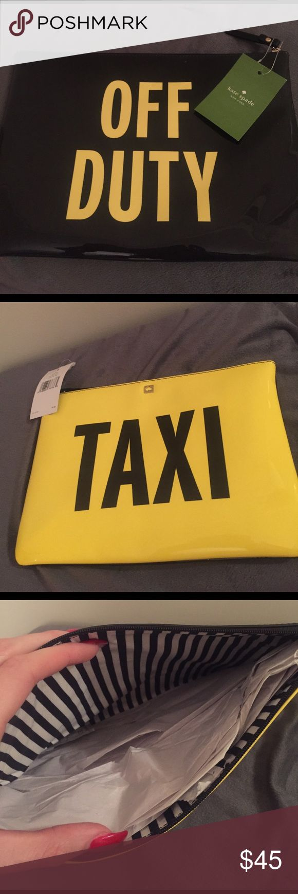 """Kate Spade """"Taxi"""" Clutch Patent Leather zip clutch!!! Bought to wear with a black and white dress but never got around to it. Tags still intact. Striped lining on the inside. kate spade Bags Clutches & Wristlets"""