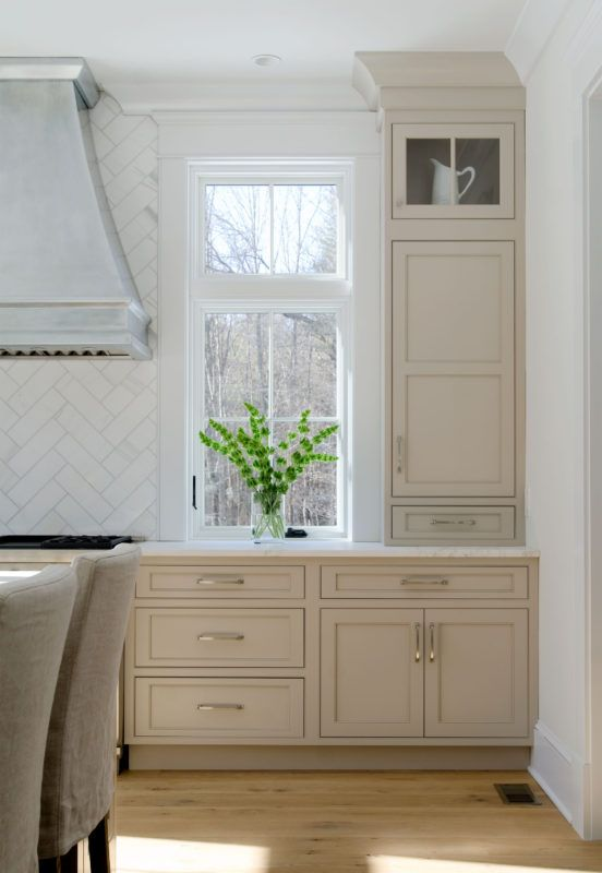 Transitional Shaker Style Kitchen Painted in Beige Paint ...