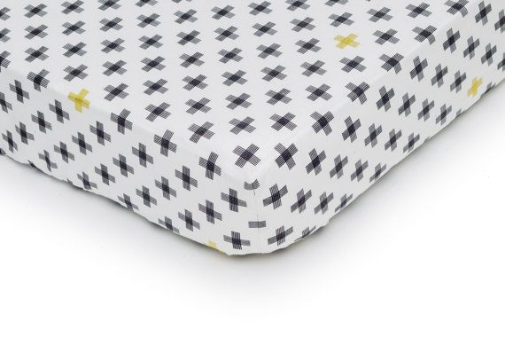 Modern Black & White Crib Fitted Sheet. Scandinavian Bedding.