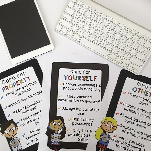 Technology Safety Posters - This display and learning packet is perfect to introduce digital citizenship at the beginning of the school year or throughout the year as individual, stand alone lessons. Activities in this pack focus on key safety factors when working online, cyberbullying and how to take care of hardware at school. Tasks include opportunities for class discussion, student collaboration, self reflection and creative skills. ~ Rainbow Sky Creations ~