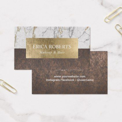 Makeup Artist Hair Salon Gold Leaf Marble & Copper Business Card - stylist business card business cards cyo stylists customize personalize