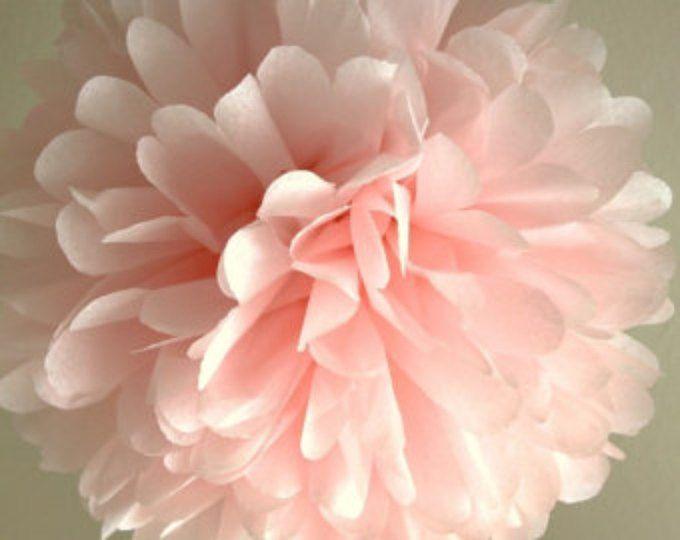 Tejido rosa luz Pom Pom... Decoración de la boda / novia ducha