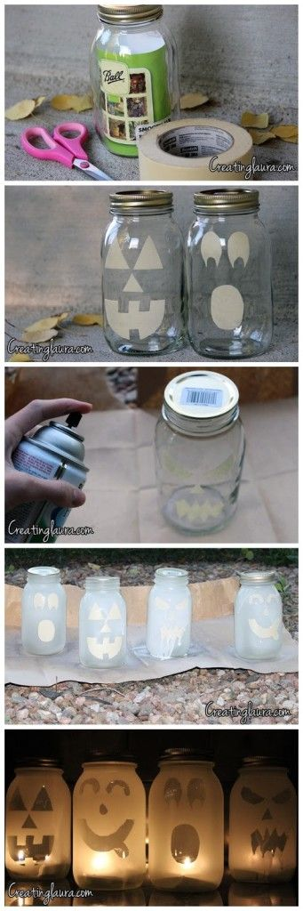 mason jar jack o lanterns. i might try using orange spray paint too instead of just frosted glass.