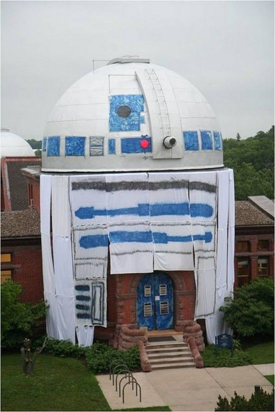 Largest College Prank:  The students at Carleton College almost transformed the Goodsell Observatory at Campus into a huge R2D2 from Star Wars.  #star_wars