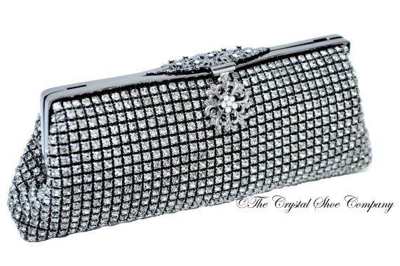 Swarovski Cristal diamant noir maille douce par TheCrystalShoeCo