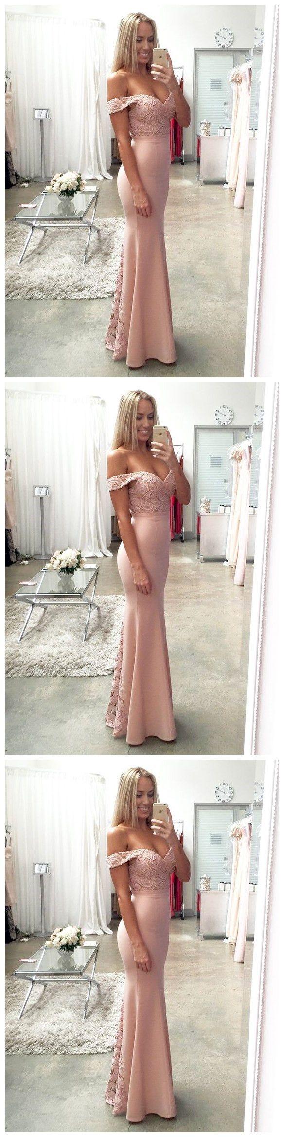 Pink Lace Satin Mermaid Prom Dress Prom Dresses,Evening