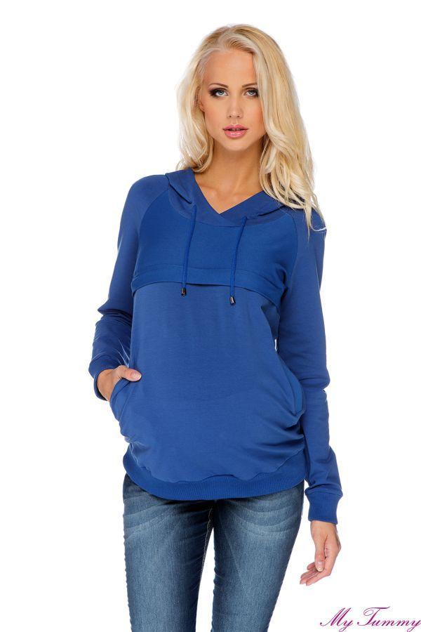 Bluza ciążowa i do karmienia Angie niebieska z kapturem