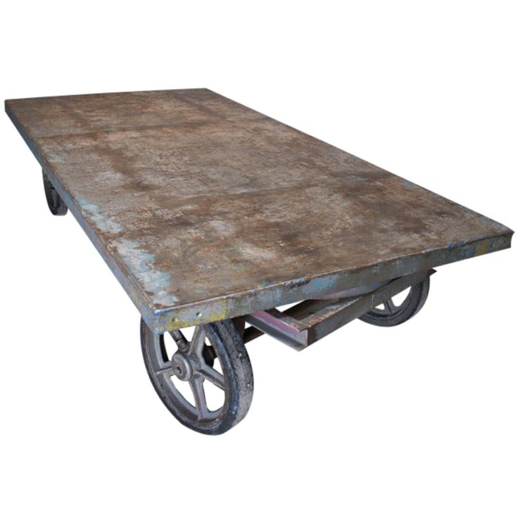 Industrial Coffee Table on Wheels offered by Antiques & Objects on 1stdibs.com