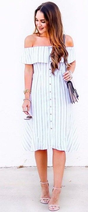 #summer #lovely #outfits |  Stripe Shirt Dress